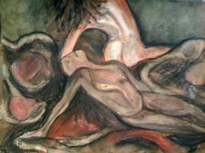 """Watercolor, Pastel on Paper' 12"""" x 8"""" Private Colleciton"""