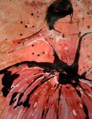 """Pink Ballet Acrylic, Ink and Gesso on Paper 46"""" x 42"""""""